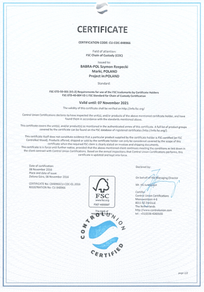 certyfikat Babra Pol
